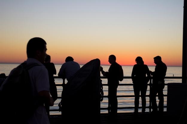 silhouette strangers sunset