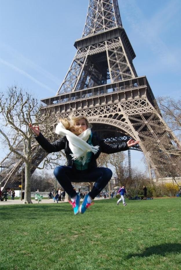Me doing Jedi magic in front of the Eiffel Tower