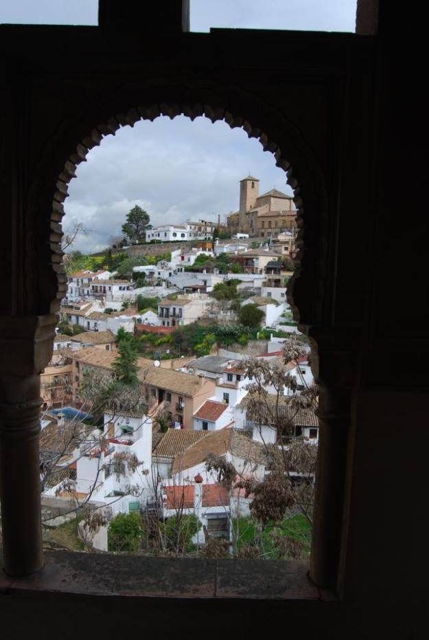 Granada through the window of an Arabic carmen