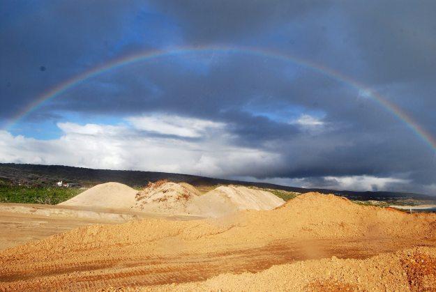 Rainbow spanning inland