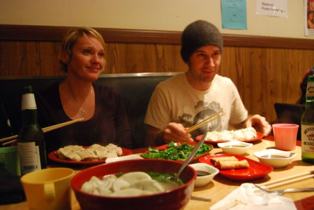 Our hosts enjoying their dumplings