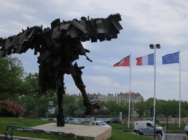 A unique statue in front of the city center.