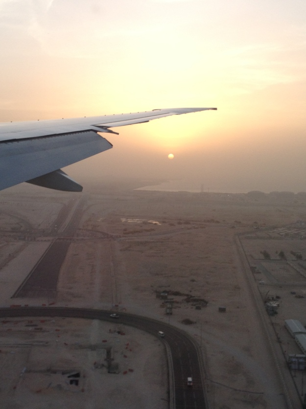 Sunrise over Doha, Qatar on my flight in