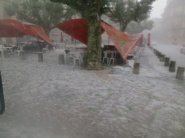 The hail smashed the canopy of a nearby restaurant.