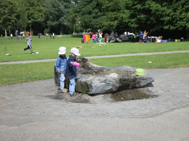 Children playing in the fountains