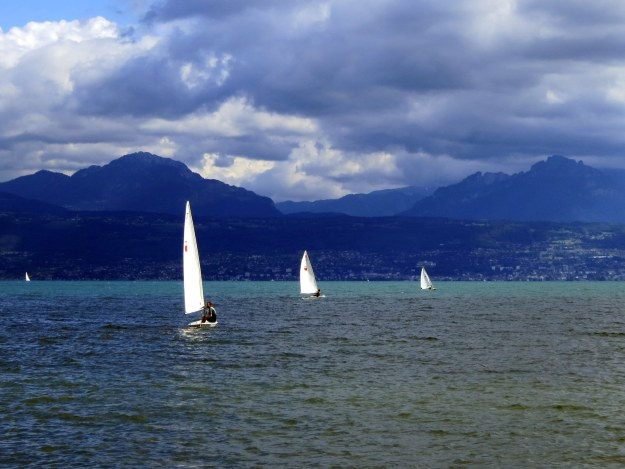 Sailboats speckling the blue landscape