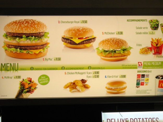 No wonder everyone in Switzerland is so slim - nobody can afford the fast food!
