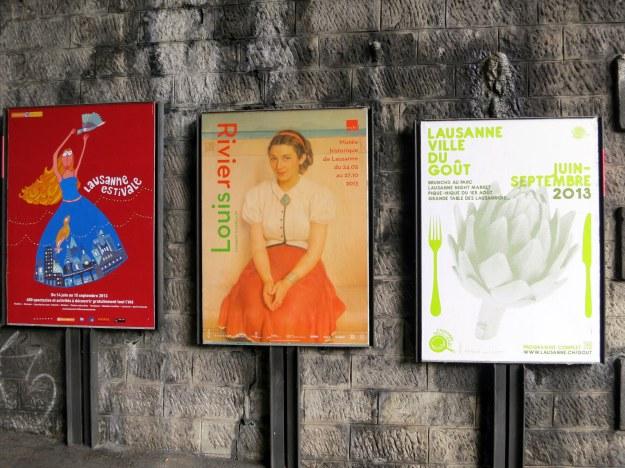 Advertisements under a bridge