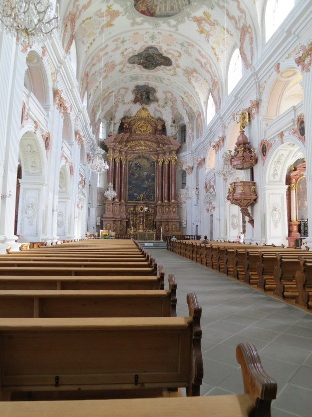 Inside one of the beautiful cathedrals - a soft and feminine feel, different from most cathedrals!